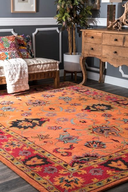 Rugs USA Orange Overdye Vibrant Adileh Rug: This eclectic area rug is hand tufted out of 100% wool and accents any room décor. If you plan to tie together any fashionable space