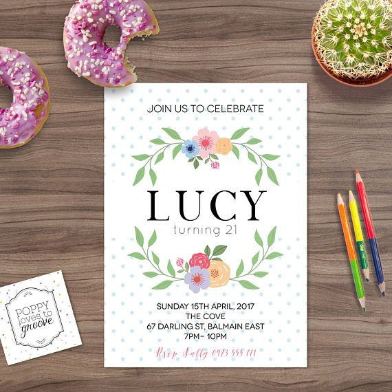 Printable Birthday Invitations Floral Spotty birthday