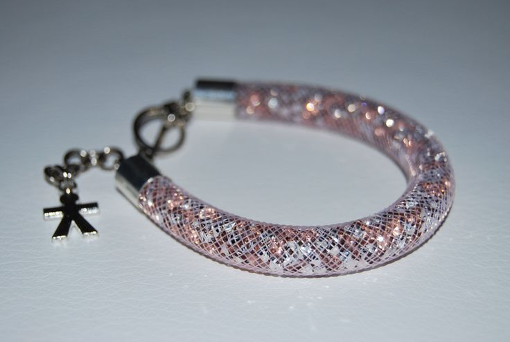 Pink Mesh Beaded Bracelet with charm by BeaduBeadu on Etsy