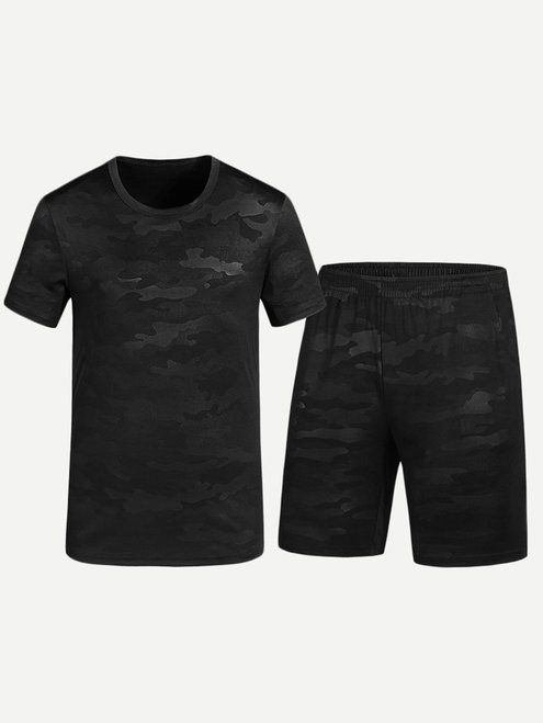 baf92bb80e Men Cut And Sew Panel Tee With Shorts - Black | Men's cloths on sale ...