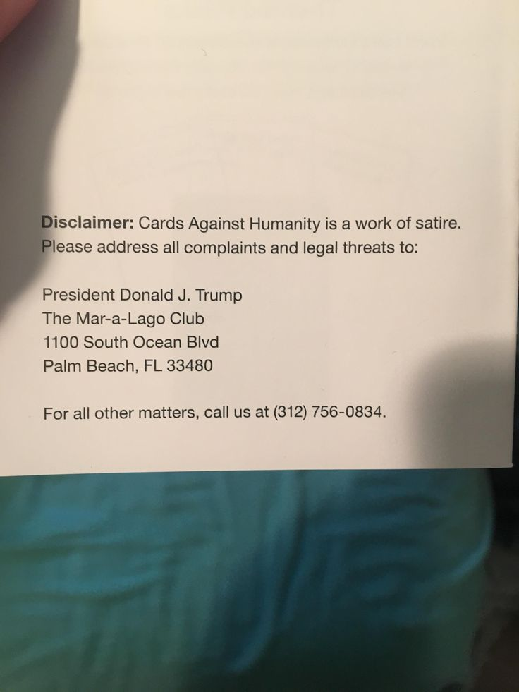 My girlfriends parents gave me Cards Against Humanity for Christmas. This was on the back of the Rules Pamphlet.