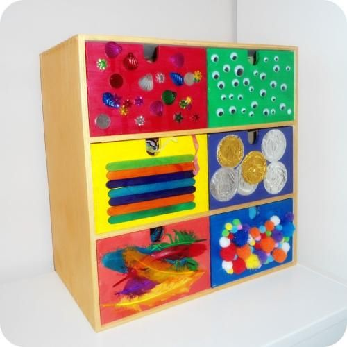How to make Mister Maker craft drawers...could use a variation of this for my art center.