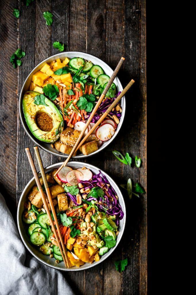 Spring Roll Bowls with Crispy Tofu