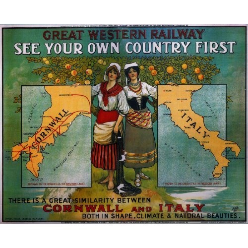 Cornwall vs Italy vintage poster by GWR. How brilliant is this?! @knitting_nellie