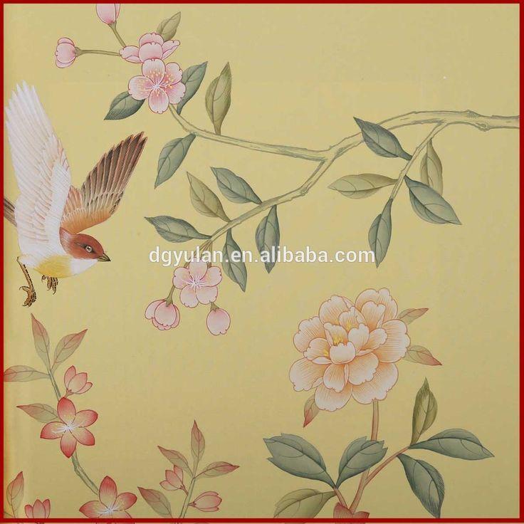 uccelli e fiori classico stile orientale ricamo carta da parati in vinile adesivo