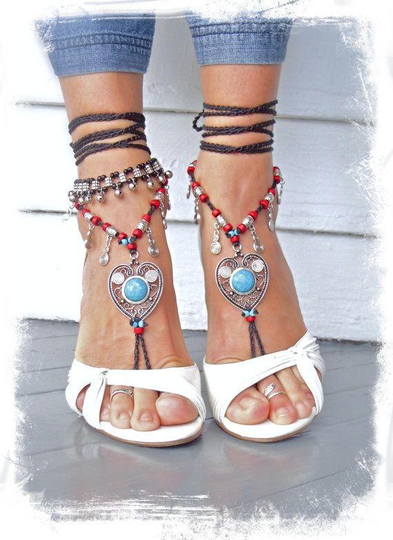 Boho LOVE barefoot SANDALS Toe thongs Turquoise HEART by GPyoga, $74.00