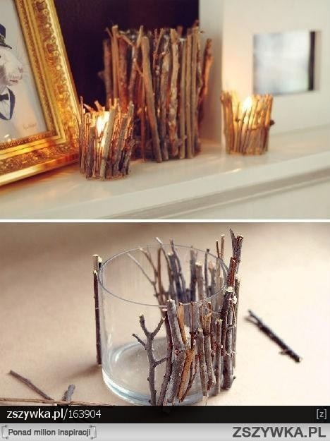 Cute DIY candle holders! I love this idea, looks very rustic :) #decorating #DIY