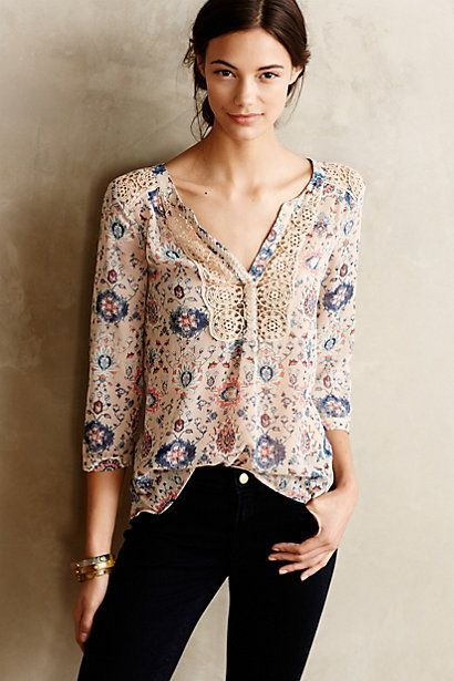Stillwater Blouse - anthropologie.com I would wear this with a cream sweater or leather moto, burgundy skinnies