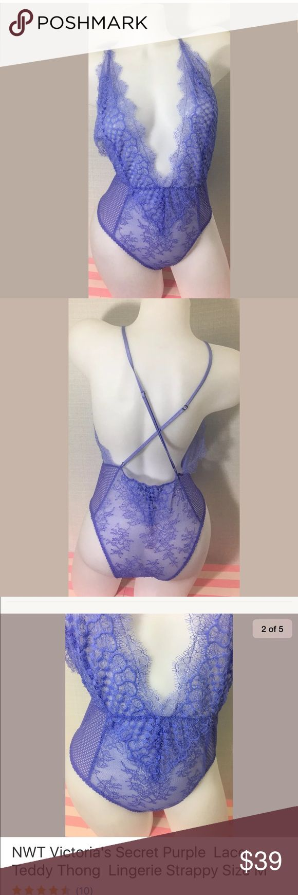 Victoria secret purple lace lingerie New with tags// purple lace teddy thong lingerie strappy// Victoria's Secret Intimates & Sleepwear