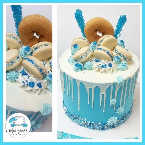 Blue and White Drip Birthday Cake NJ