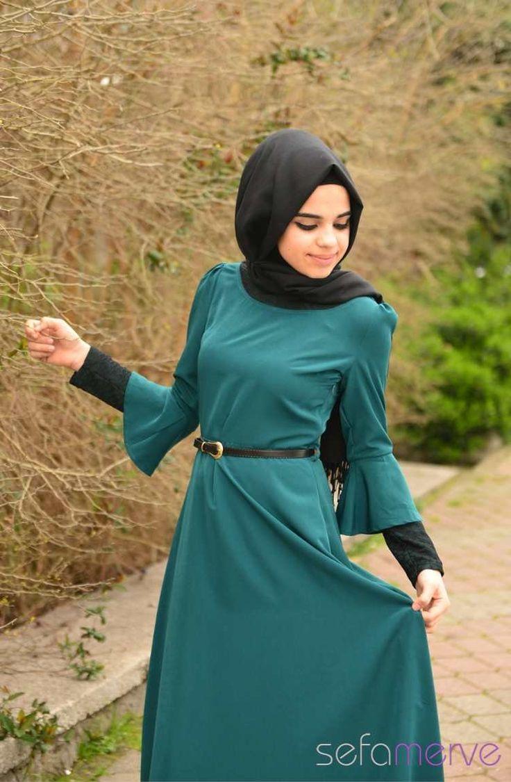 Tubanur Tesettür Elbise 5247-02 Yeşil