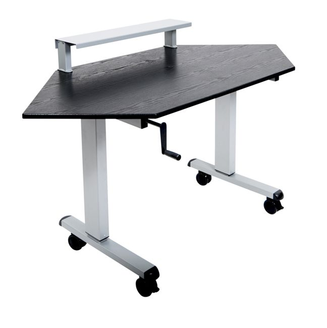 crank adjustable stand up corner desk on wheels perfect computer desk for that unused corner