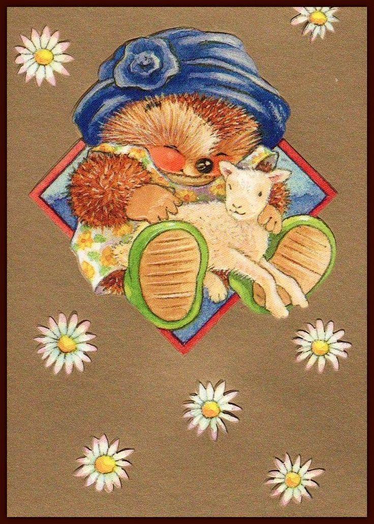 Днем рождения, открытка ежик спит