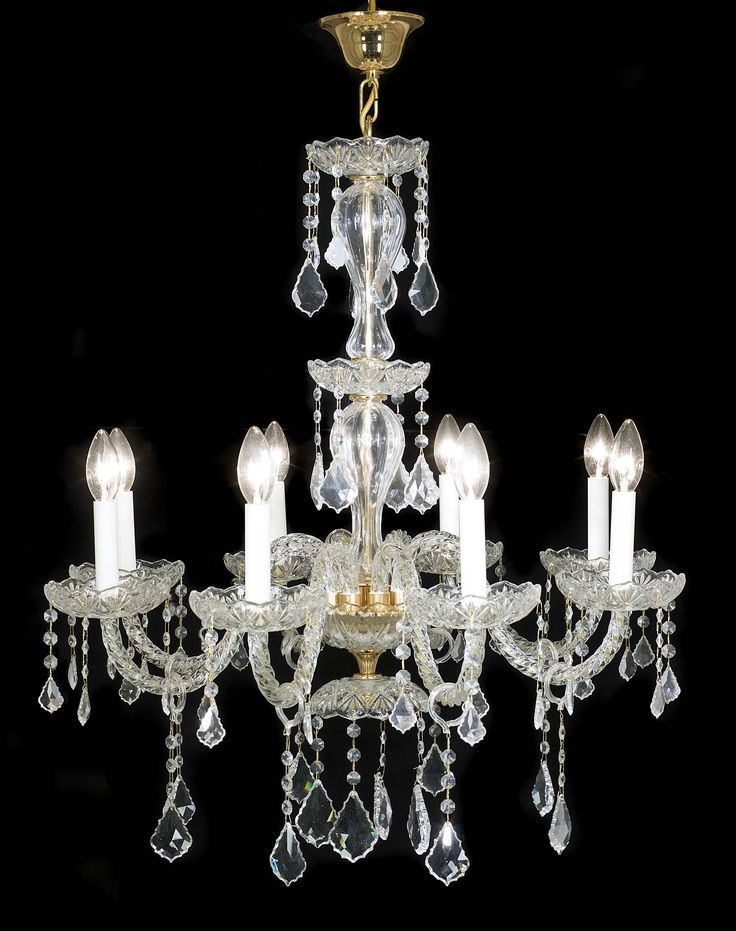 An eight branch crystal chandelier