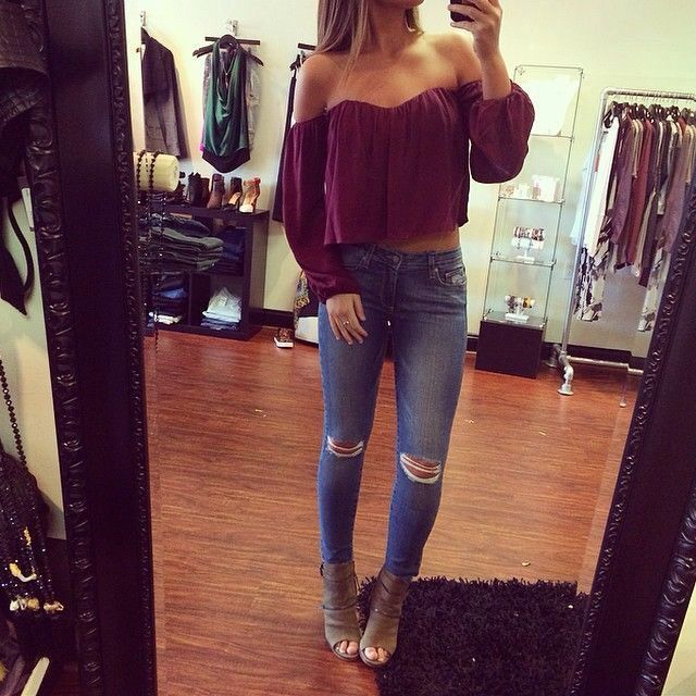 Super cute spring fall outfit off shoulder top burgundy Image source