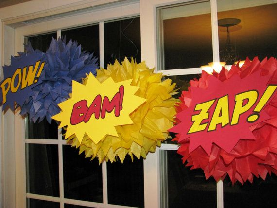 Superhero tissue paper pompom kit Pow Bam Zap by TheShowerPlanner, $8.99