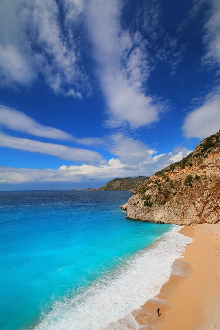 Kaş-Turkey - so many places with fine, white sand and clear, turquoise water. I want to visit them all! #travel