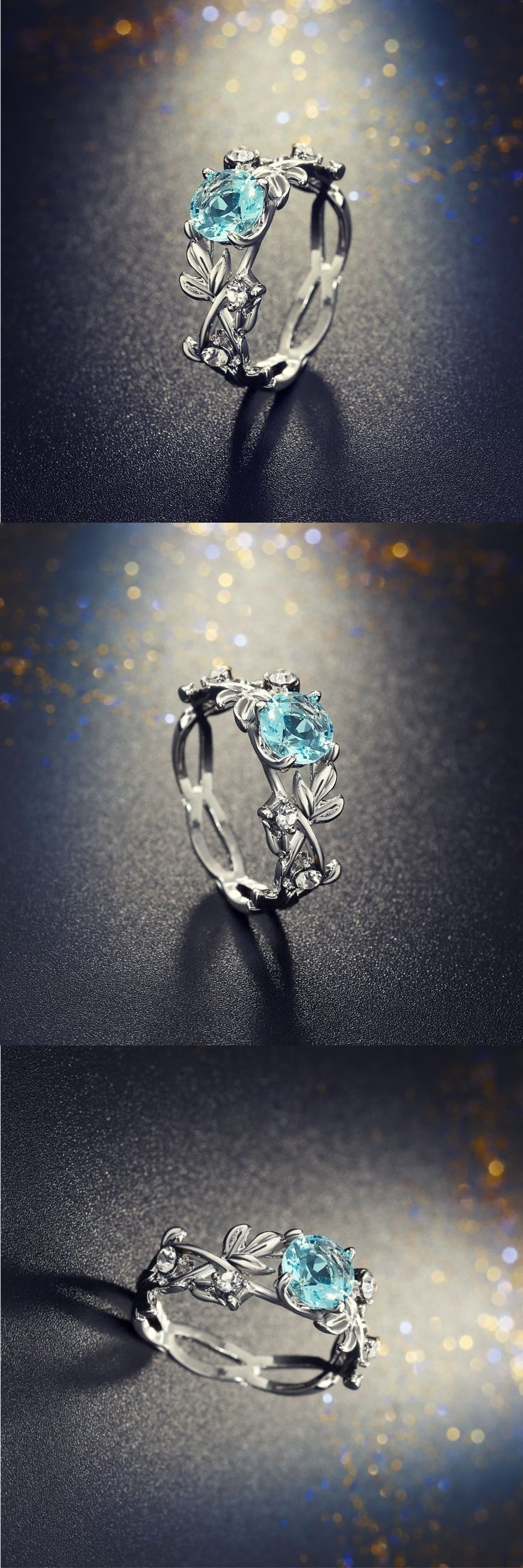 Crystal Leaf Engagement Ring