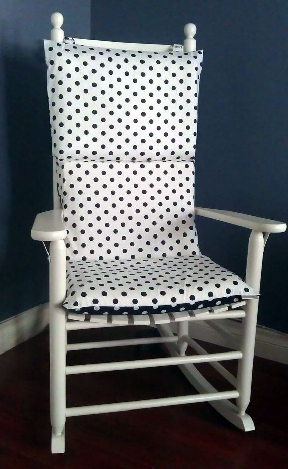 Rocking chair cushion navy white polka dot by for Schaukelstuhl pink