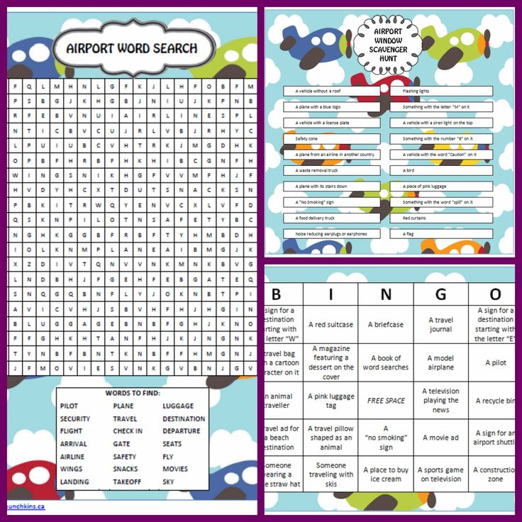 Airport Games - Free Printables - Word Search, Bingo and Scavenger Hunt #FamilyTravel
