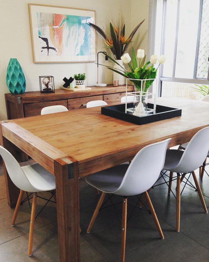 Here is another angle of my Silverwood dining table with the matching buffet! I love mine as I can change the look of it anytime....the timber is so versatile and suits so many styles of decor. You can get the Buffet for 1/2 price when you buy the 9 piece setting like mine. (Chairs sold separately) Limited time only. Check out @superamart1 latest sale. #superamart #superamartstyle #budgethomeliving #diningroom #inspiration #interiors #homedecor #homewares #replica #zola #eiffelchairs (Tap…