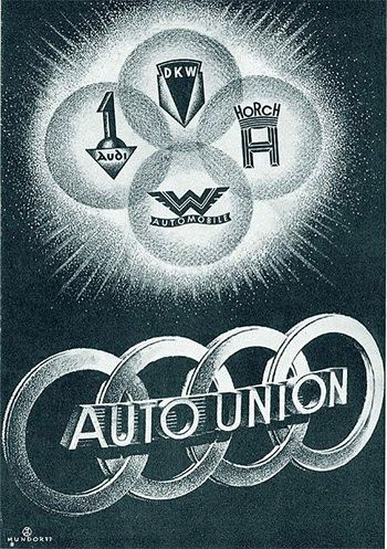 Auto Union poster -- Audi survived and retained the four linked circles...