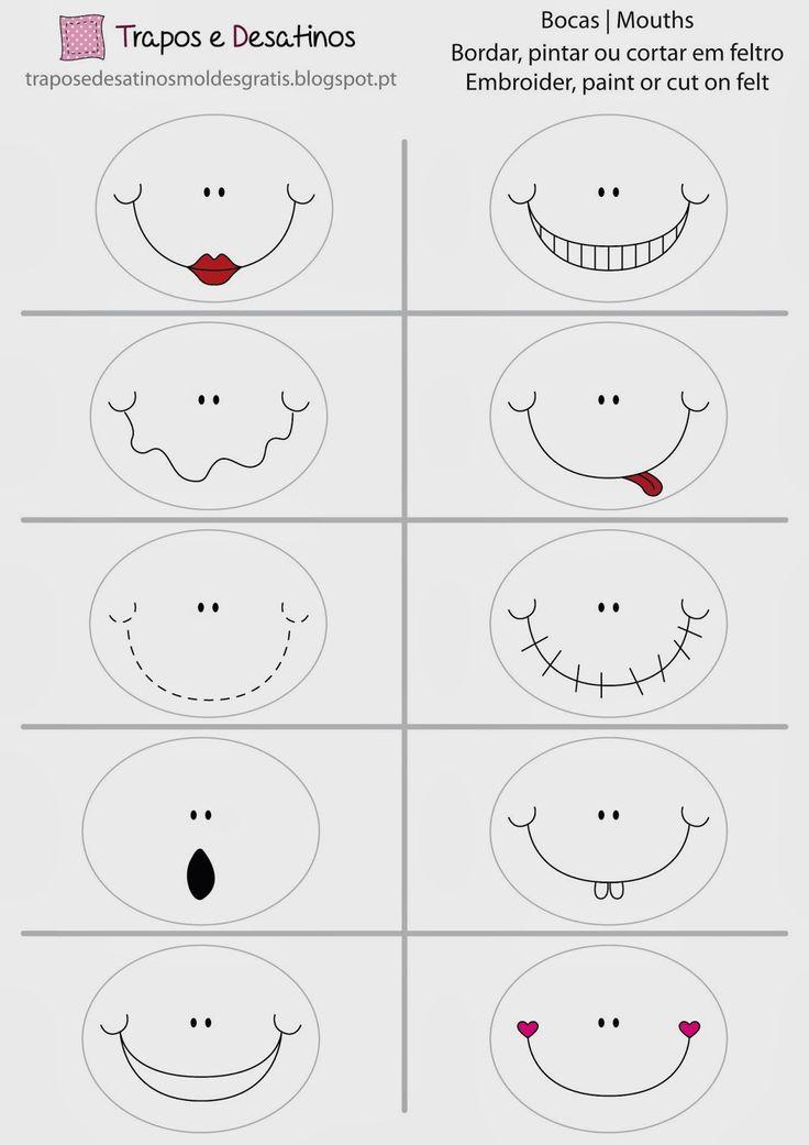 Terceiro conjunto de bocas para pintar ou bordar. O molde é da nossa autoria.  Faça o download grátis do molde de costura aqui:     Third ...