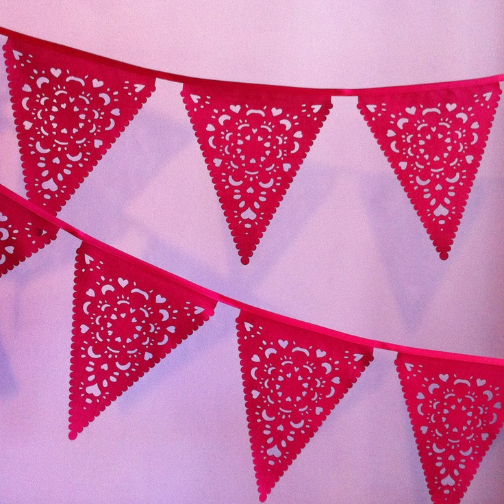 Red lace wedding bunting, Chinese New Year decorations by Claire Ong