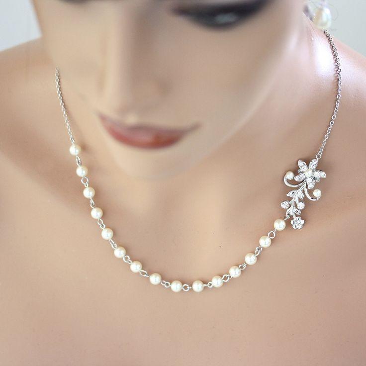 Pearl Bridal Necklace Vintage Wedding Rhinestone Flower