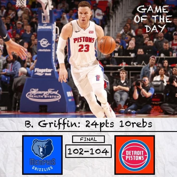 Game of the Day: Grizzlies vs Pistons. Will Blake turn this franchise around? Comment and Read Below  .-.-.-.-.-.-.-. Hey at least the Pistons broke their losing streak! Pistons grab a nail biter at home against the Grizzlies. Blake Griffin had a very good debut as a Piston and I think the city is excited for their new star. However this is one of the best games that I feel the Pistons can play. Besides Griffin and Drummond their team has very little talent. Their bench might be the…