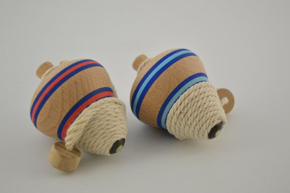 Wooden spinning tops / 2pieces by CraftsAndMetal on Etsy