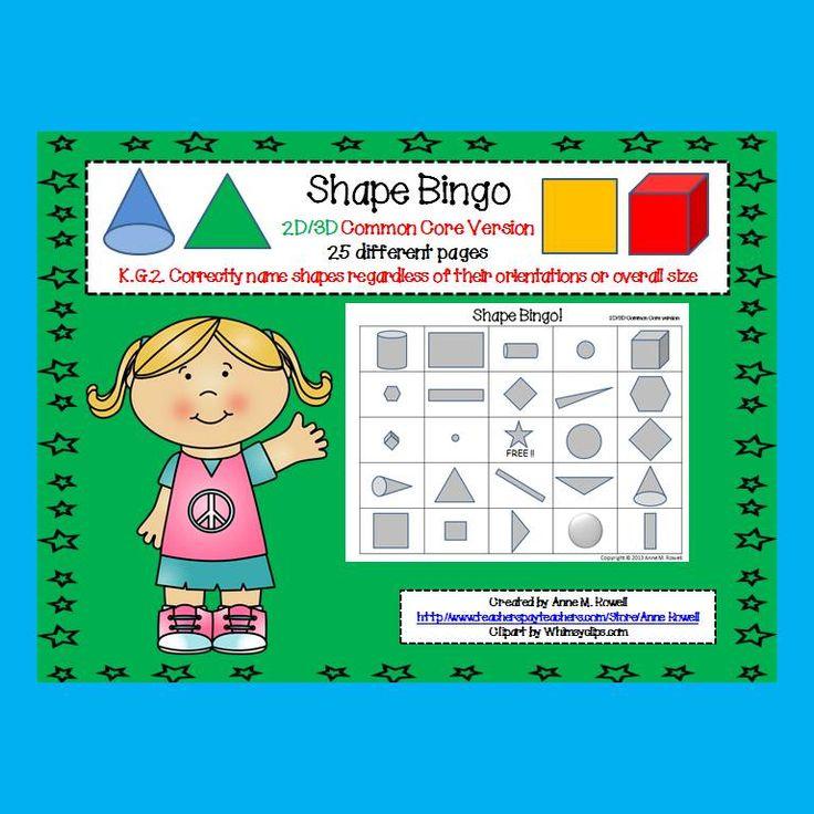Kindergarten Calendar Math Powerpoint : Shape bingo d common core version shapes