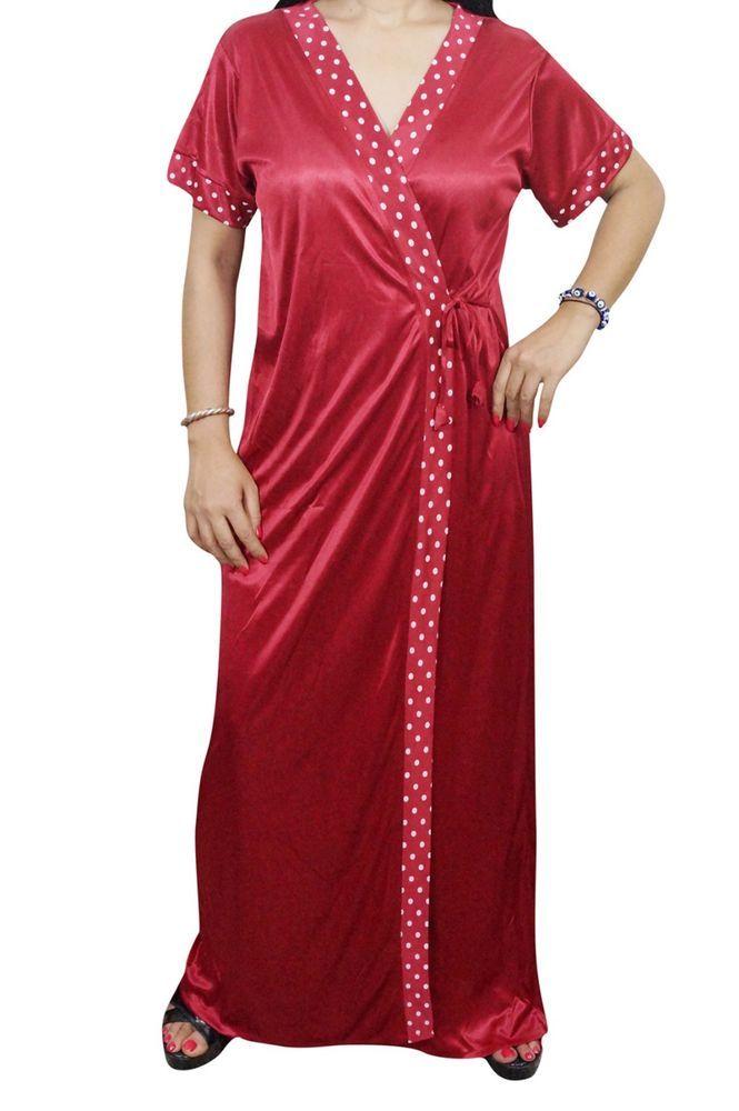 74ed02dd14b Indiatrendzs Women Sexy Maroon Satin Nighty 2 Pc Sleepwear Nighty Set With  Robe  Indiatrendzs