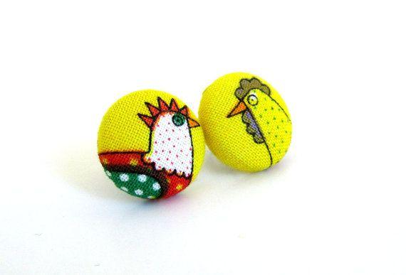Funky chicken earrings   small earrings for kids  by KooKooCraft, €9.00 $12