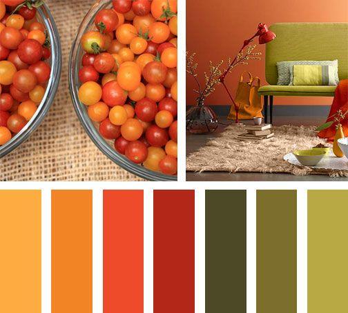 Deleita tu sentidos con esta paleta de colores, rojos y verdes.  Espacio via:sofaworkshop