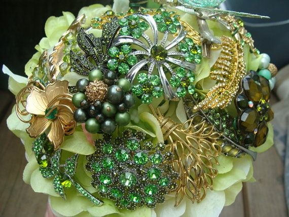 Vintage Brooch Wedding Bouquet by estherleejewelry on Etsy, $350.00