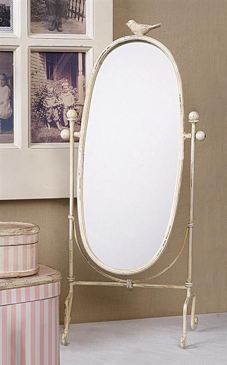 Cream Vintage Style Standing Mirror With Bird Currently Available At  Eleventh Hour In Rochester NY. Bathroom Vanity ...