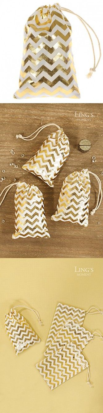 "Ling's moment 10pcs 4""x6"" Sparkly Gold Chevron Cotton Drawstring Bag for Gatsby Style Wedding Party Bridal Shower Bachelorette Party Favor Bags"