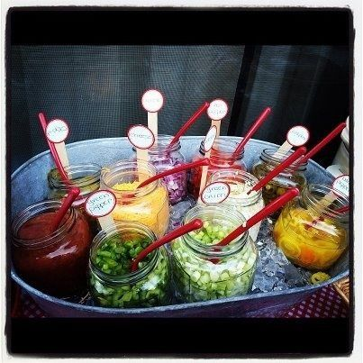 Use mason jars for condiments, burger toppings and when making taco's! Great for cook outs or party's!
