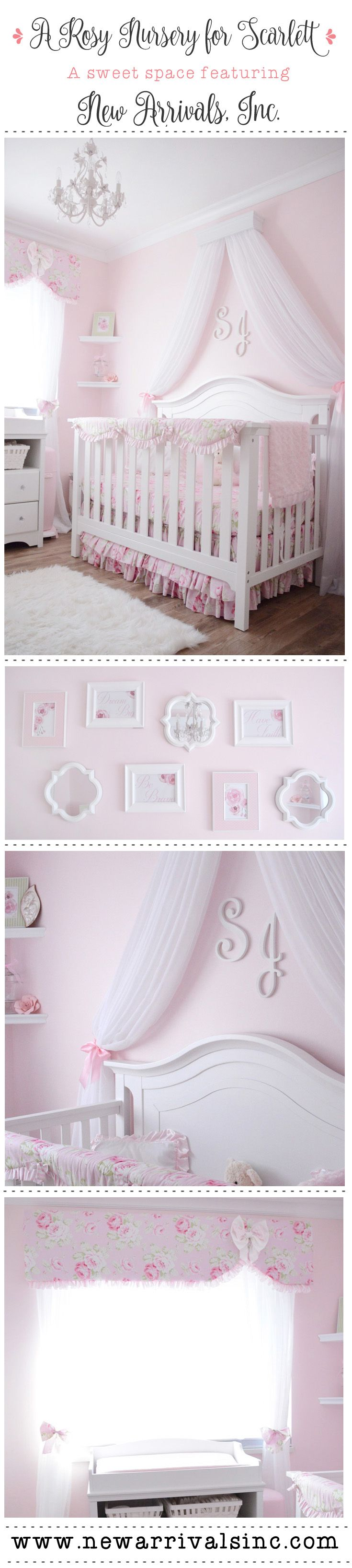 A rosy baby girl nursery featuring New Arrivals, Inc. Pink Desert Rose Baby Bedding! Our #1 seller for baby girls!