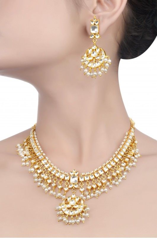 Silver Traditional Pearl & Crystal Necklace Set