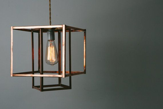 Geometric Copper Hanging Pendant Light Chandelier by KhalimaLights