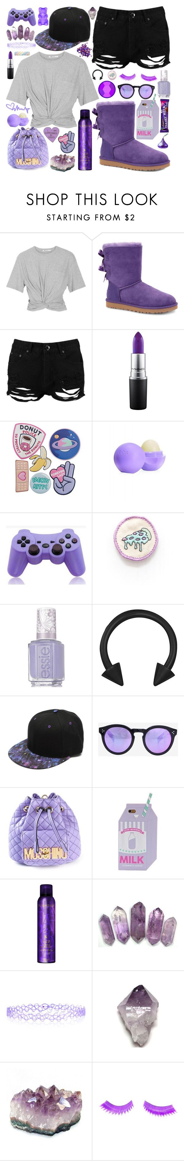 """""""No! I get mad at myself! That's, ugh, the thing I do. I get mad at myself and then it makes me suck at everything I do even more."""" by opal-dusk-gr ❤ liked on Polyvore featuring T By Alexander Wang, UGG Australia, Boohoo, MAC Cosmetics, Eos, Sony, Essie, Illesteva, Moschino and Kérastase"""