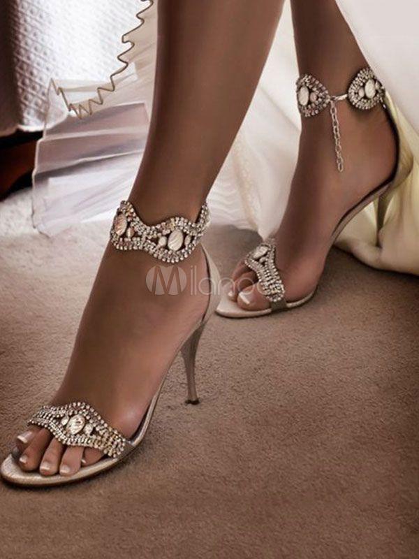 5048dbea5e High Heel Sandals Satin Open Toe Rhinestones Party Shoes Women Block Heel  Sandals - Milanoo.com