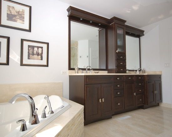 Double Vanity With Center Tower Bathroom Master Bath Design Pictures Remodel Decor And
