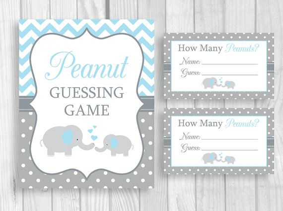 Peanut Guessing Game Printable 5x7 Or 8x10 Blue And Gray Elephant Boyu0027s Baby  Shower Sign And Sheet Of 3x5 Tickets   Instant Download