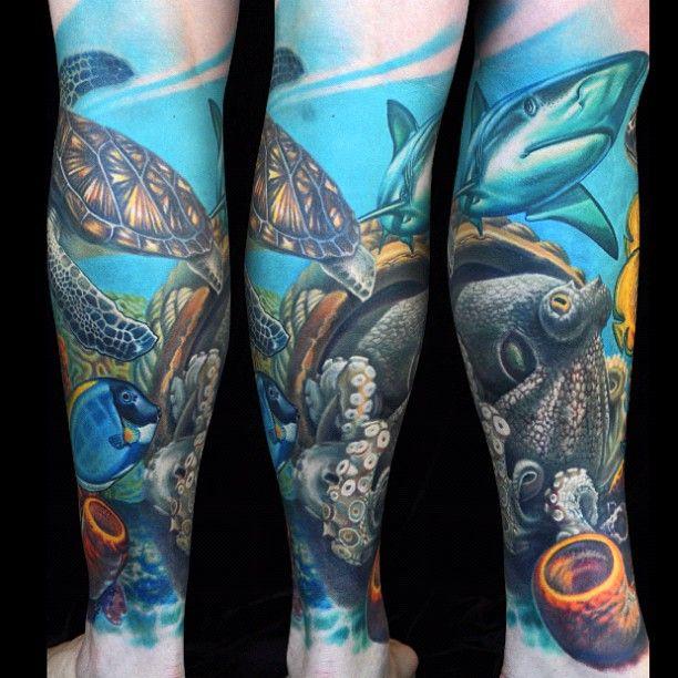 Ocean leg sleeve. Amazing detail - Nikko Hurtado                                                                                                                                                                                 Mais