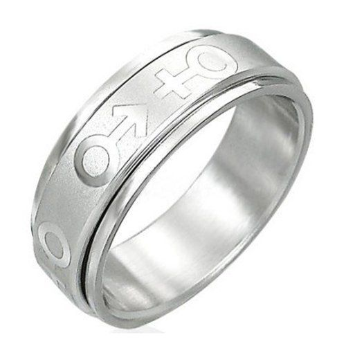 Male & Female Symbol Spinner Ring - Transgender LGBT Pride Stainless Steel Ring. Transgender Male Female Pride steel ring band for men or women. Rainbow Pride Jewelry is Great for the Gay parade, as a Lesbian, Gay, Bisexual, or Transgender Gift to Celebrate Marriage, Love and Equality. SIZE (8). High Quality 316 Stainless Steel Spinner Ring with classy etched Male and Female Transgender Symbols. LGBT Pride Ring. The unique shape is comfortable and very fashionable. Available in many sizes...