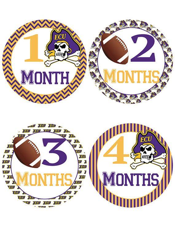East Carolina University Football Baby Belly Stickers ~ ECU Pirates Monthly Baby Milestone Stickers (306)