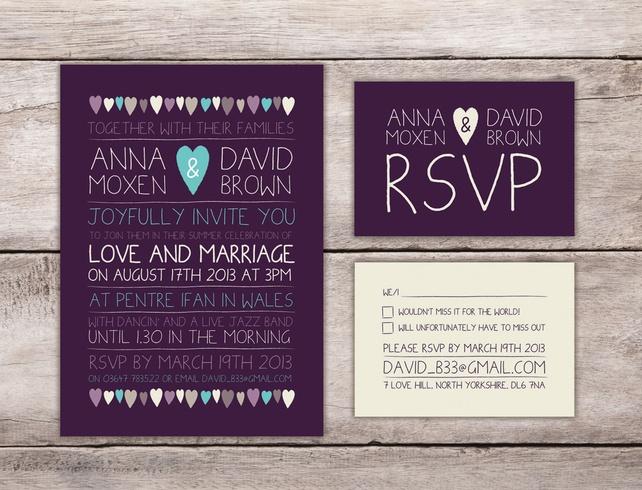 Wedding Invitation Sample - Purple Pretty